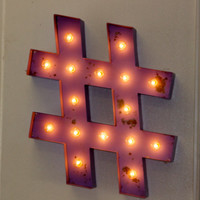 """24"""" Large Metal Hashtag Marquee Vintage Inspired…. Letter Numbers Wedding Birthday Party A B C D E F G H I J K L M N O P Q R S T U V W X Y Z"""