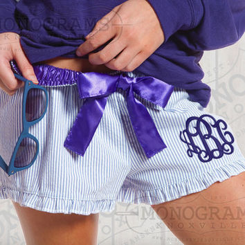 Blue Monogrammed Seersucker Ruffle Pajama Shorts Bitty Boxers - Font shown INTERLOCKING in Dark Blue