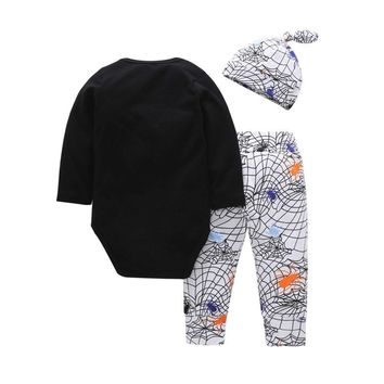 Newborn Baby Letter Romper Tops Pumpkin Prin Pants Cap Halloween Clothes Sets