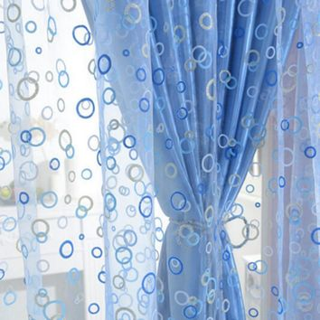 100x200 cm Chic Room Bubble Pattern Voile Window Curtains Sheer Panel Drape Scarf Curtains