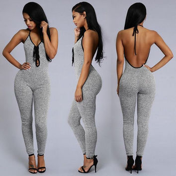 Bodycon Skinny Halter V-neck Backless Long Jumpsuit