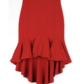 Casual Fishtail Hem Plain Midi Skirt