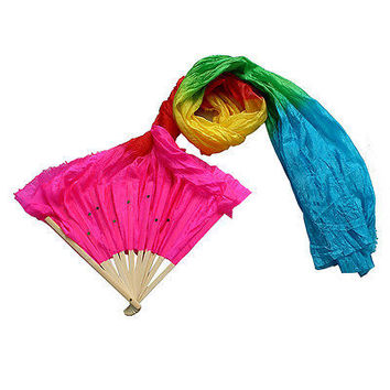 Multicolor Hand Made Belly Dance Dancing Silk Bamboo Long Fans Veils 1.8m Nice