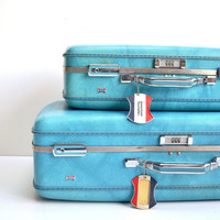 Vintage Marbled American Tourister Suitcase Set