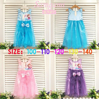 Children's Dresses Girls Frozen Vest Bow Princess Dress Kids Dresses Children Clothes.