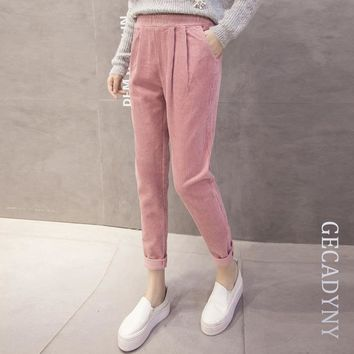 2018 New spring autumn corduroy pants loose slim pocket Korean harem pants women Wild solid color Soft casual trousers female