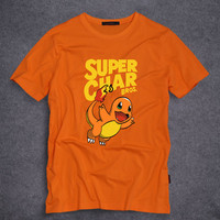 Classic Anime Cartoon characters Pokemon Charmander printed Funny Design Men Tees T Shirt Short Sleeve T-shirts S-5XL