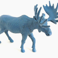 Blue Painted Moose Figurine Upcycled Home Decor