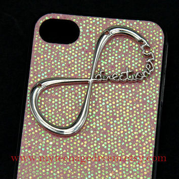 Infinity iphone 4 case, One Direction forever directioner bling glitter iPhone Case 4 , light pink spark hard case for iphone 4 case