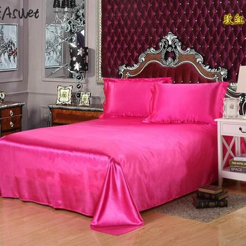 Cool 2017 Luxury silk bedsheet bed sheet cover bed sheets Solid Flat  color double satin bedding full queen king no pillow coversAT_93_12