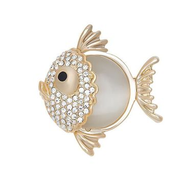 Trendy Fish Brooch Created Opal Stone & Clear Austrian Crystal in 16K Gold Plated