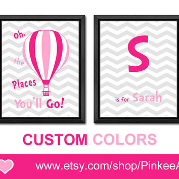 oh the places you will go hot air ballon girl nursery girl wall decor dr seuss quote art girls room decor baby nursery decor initial nursery