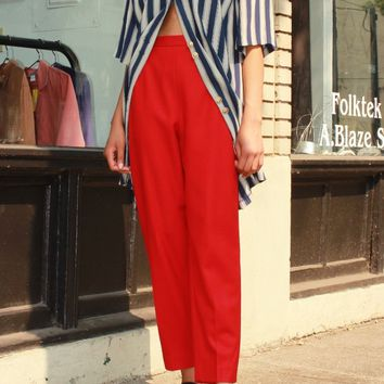 Red Wool Tapered Trousers / M