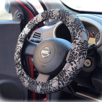 Steering wheel cover for wheel car accessories Black Silver Lace print