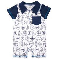Hudson Baby Summer Romper, Nautical Print | Affordable Infant Clothing