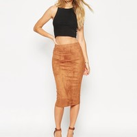 ASOS Midi Pencil Skirt In Faux Suede