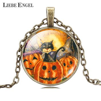 LIEBE ENGEL Vintage Silver Color Jewelry Halloween Pumpkin Necklace&Pendants Cat Picture Glass Bronze Collares For Women Gift