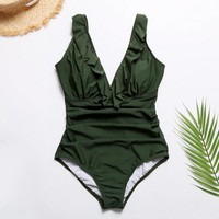 One piece green swimsuit bikini 2019