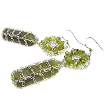 Olive Green Earrings Gem Silver Wire Crochet Mesh Metallic Modern Fancy jewellery Israel