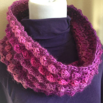 Lightweight Cowl Scarf, Crochet Infinity Scarf Cowl - 100% Acrylic Blend - Variegated Plum Hues - Handmade Scarf, Womens Fashion Accessories