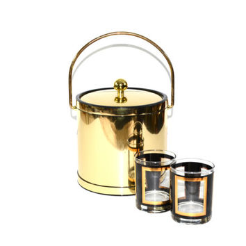 Ice Bucket Gold Ice Bucket Brass Ice Bucket Vintage Ice Bucket Kraftware Ice Bucket Barware Bar Cart Accessories Ice Bucket Gold