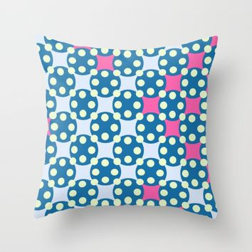 Green Pink Dots Pattern Throw Pillow by oursunnycdays