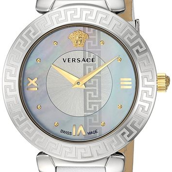 Versace Women's 'Daphnis' Swiss Quartz Stainless Steel and Leather Casual Watch, Color:White (Model: V16010017)