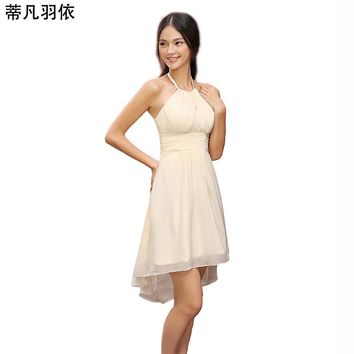 Real Photo Vestido De Festa 2018 New Prom Dresses Sexy Chiffon Short Party Dresses High Low Sleeveless Banquet Party Gown