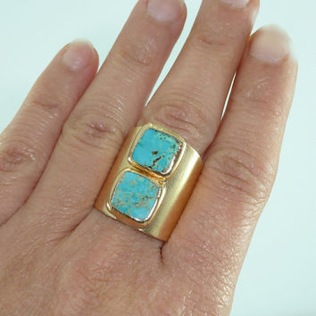 Turquoise Gold Ring, Statement Ring, Gold, Turquoise, Gemstone Ring, December Birthstone,Turquoise Ring,Turquoise Jewelry,Inbal Mishan