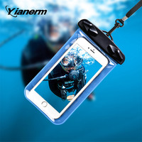 Yianerm PVC Transparent Waterproof Mobile Phone Cover Bag for Iphone 6 6plus Samsung Xiaomi Huawei waterproof pouch for swimming