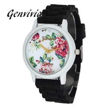 Floral Ladies Analog Quart Wrist Watch