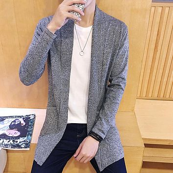 new autumn 2017 men's fashion trend of the Korean casual all-match accommodative solid color lapel cardigan sweater M-5XL