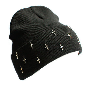 Rita 90s Grunge Cross Embellished Beanie Hat (Available in gold and silver)