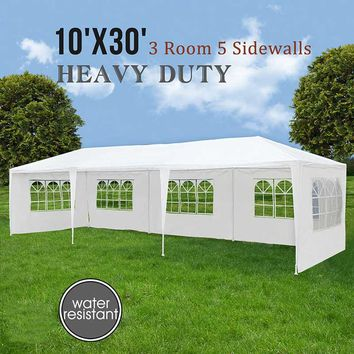 10'x30' 5 Windows White Wedding Party Tent Outdoor Folding Gazebo Marquee Tents Large Space Camping Tents