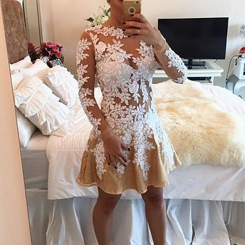 2017 Elegant Scoop Appliques Beading A Line Tulle Long Sleeves HomeComing Dresses Cocktail Dresses Vestidos De Coctel