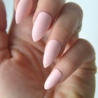 Matte pastel pink stiletto nails, stick on nails, press on nails, nail designs, nail art, stiletto nails, pointy nails