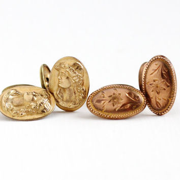 Antique Edwardian Cameo or Flower Oval Cufflinks - Vintage Art Nouveau 1910s Rose or Yellow Gold Washed Men's Cuff Link Bean Back Jewelry