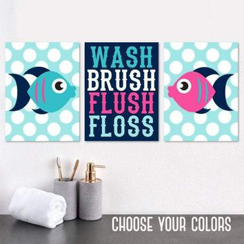 FISH BATHROOM Decor, Fish Wall Art, Child Bathroom Canvas or Prints Boy Girl Bathroom Wash Brush Flush Floss Set of 3 Kid BATHROOM Rules