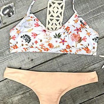 Cupshe Breezy Does It Floral Crochet Bikini Set