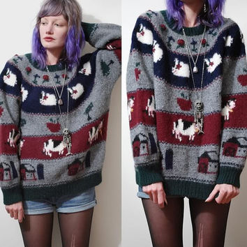 90s Vintage WOOL Sweater Cows/Sheep Floral Knit Knitted Farm Animal Print Pattern Jumper Woollen Slouchy Oversized Grunge vtg 1990s S M