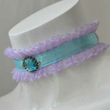 Crown jewel - lilac and blue princess lace collar with glass cabochon in front - kawaii cute kitten space pet play kittenplay ddlg