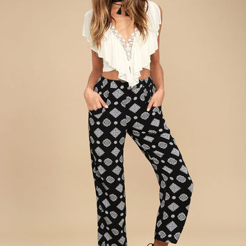 Amuse Society Berlin Black Print Pants