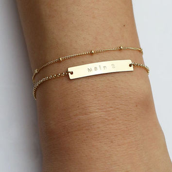 Name plate bracelet SET - Gold filled and Sterling silver Personalized skinny name plate bracelet // Gift for her