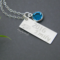 Graduation Necklace, Class of 2016, Personalized Name Engrave Necklace, College Graduation Gift, Birthstone Charm, Sterling Silver, Gold