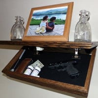 "23"" Oak Wall Shelf With Drop Down Hidden  Secret Compartment For Hand Guns,Jewelry,Valuables,Etc.."