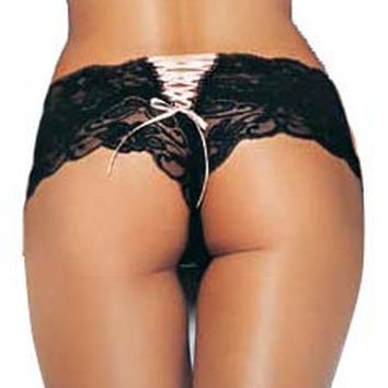 Butterfly Lace Up Tanga Panty (Medium/Large,Black/Pink)