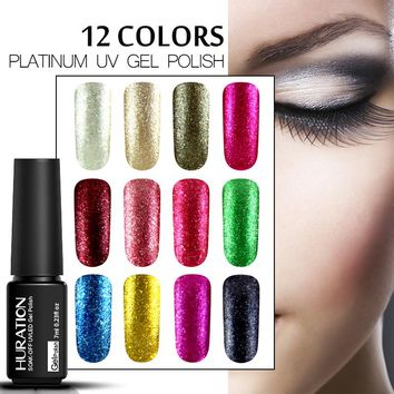 Huration Semi permanent 7ML 3D Platinum Nail Gel Varnish Long Lasting Shining Fingernail Soak-off LED UV Gel Nail Polish