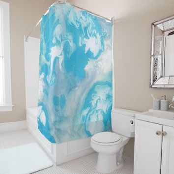Blue White and Grey Marble Pattern Shower Curtain