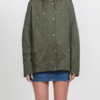 Womens Lightweight Cotton Military Anorak Jacket with Hoodie