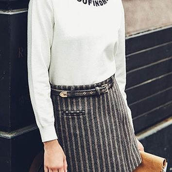 White Monogram Embroidery Round Neck Long Sleeve Pullover Sweater